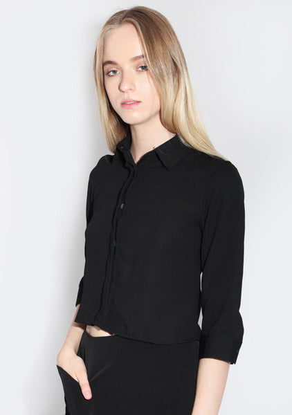 Toulose Square Back Shirt in Black - SALIENT LABEL