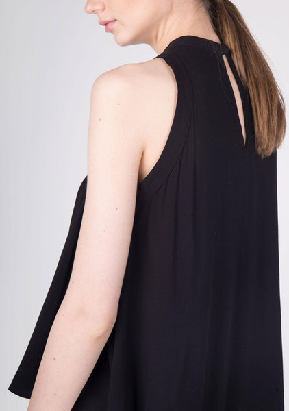 MIA RAYON FLARE TOP IN BLACK