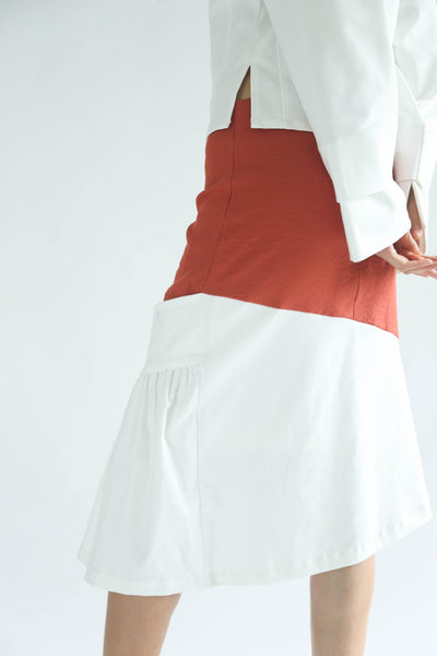VENEXIA BUTTON DETAIL SKIRT - FLAMINGO - SALIENT LABEL