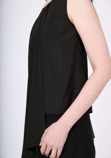 Raelyn Front Draped Panel Top - ANTHRACITE - SALIENT LABEL