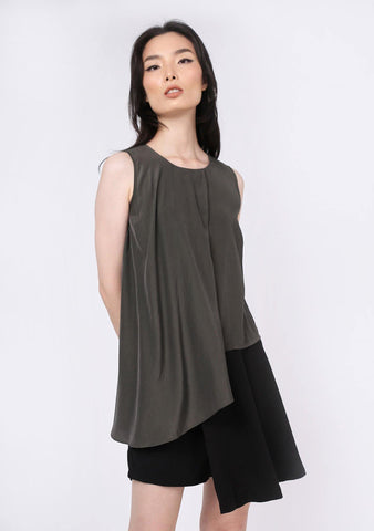 Raelyn Front Draped Panel Top - Dark Olivine - SALIENT LABEL