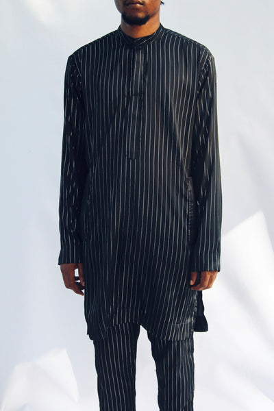 I.N OFFICIAL BLACK SILK PINSTRIPE KAFTAN AND PANTS
