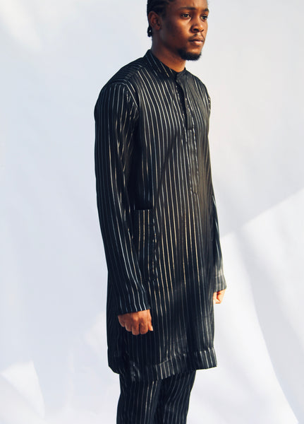 I.N OFFICIAL BLACK SILK PINSTRIPE KAFTAN