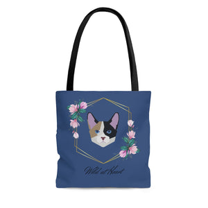 Wild at Heart Calico AOP Tote Bag in Blue