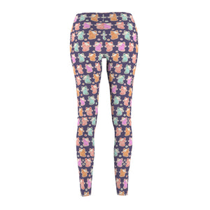 Kawaii Pastel Kittens Women's Cut & Sew Casual Leggings in Purple
