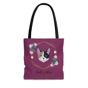 Wild at Heart Calico AOP Tote Bag in Maroon
