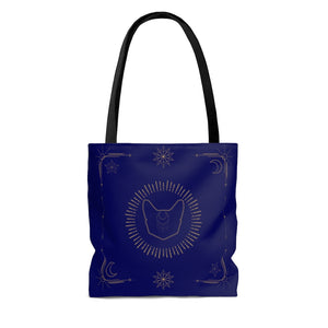 Faceless Lunar Familiar AOP Tote Bag in Navy