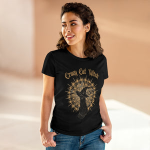 Crazy Cat Witch Women's Heavy Cotton Tee
