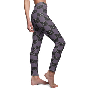 Black Witch Cat Women's Cut & Sew Casual Leggings in Smokey Purple