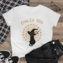 Load image into Gallery viewer, Crazy Cat Witch Women's Heavy Cotton Tee