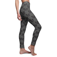 Load image into Gallery viewer, Black Witch Cat Women's Cut & Sew Casual Leggings in Charcoal
