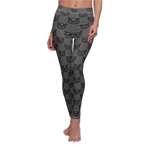 Black Witch Cat Women's Cut & Sew Casual Leggings in Charcoal
