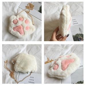 Plush Cat Paw Purse