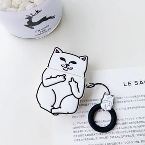 Edgy Cartoon Cat Silicone Case for AirPods 2