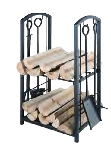 Wood Rack with 4 Piece Fireside Tool Set