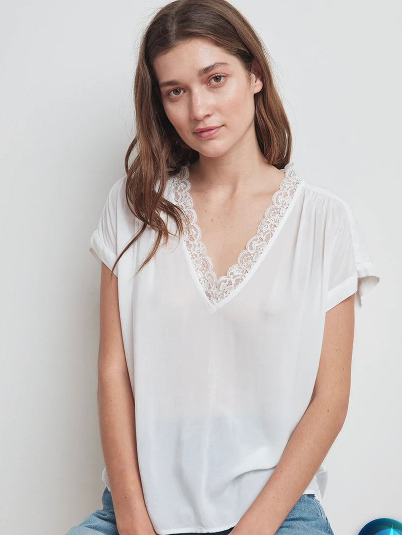 LACE V NECK TOP