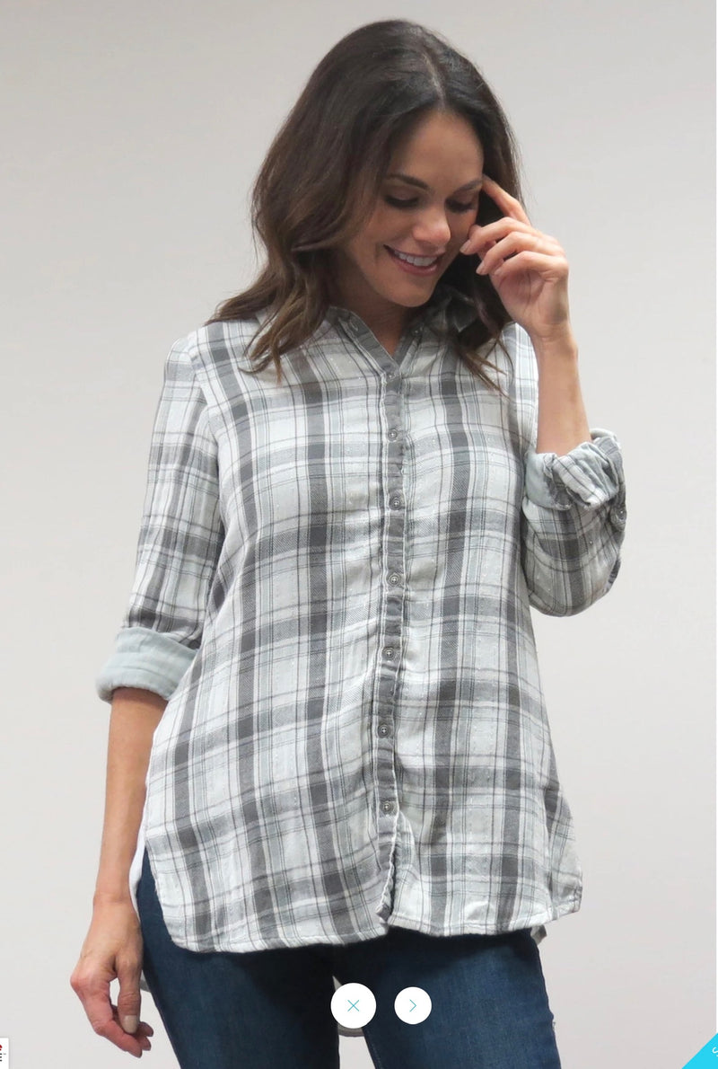 PLAID + EMBROIDERED SHIRT (only 1 left!)