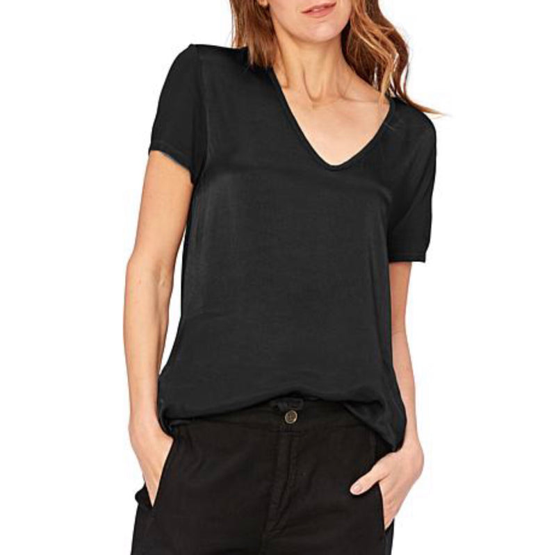 SATIN V NECK TOP (more colors)