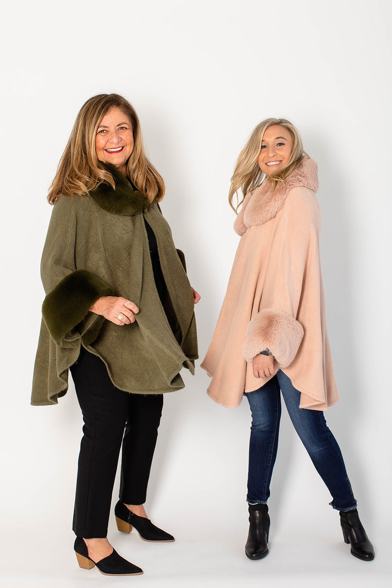 FAUX FUR TRIM CAPE (more colors)