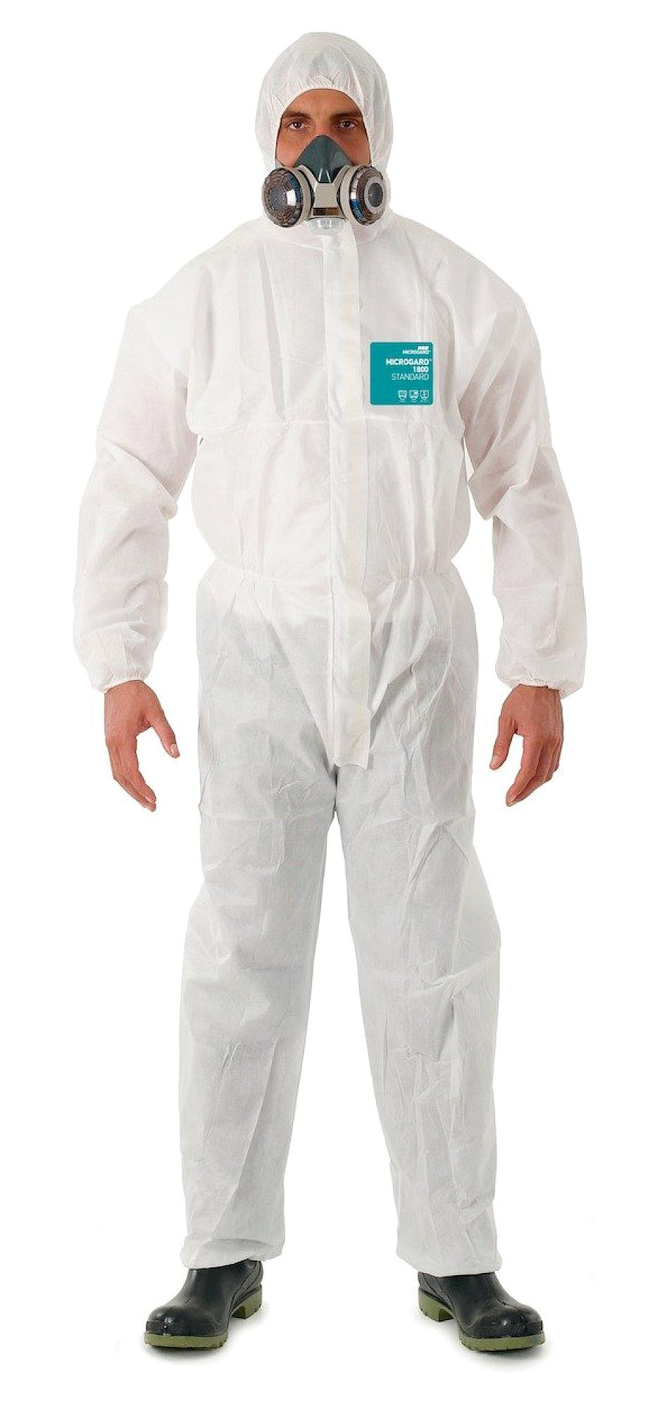 Ansell White Coveralls Hooded Microgard 1800