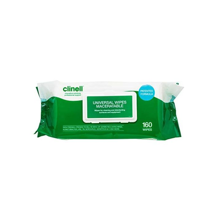 Clinell Universal Maceratable Wipes - Pack of 160 Wipes