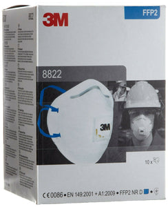 3M 8822 Valved Hand-Sanding and Power Tool FFP2 Dust Mask (Box of 10)