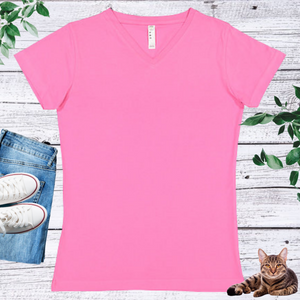 Ladies' Fitted V-Neck Short Sleeve Tee