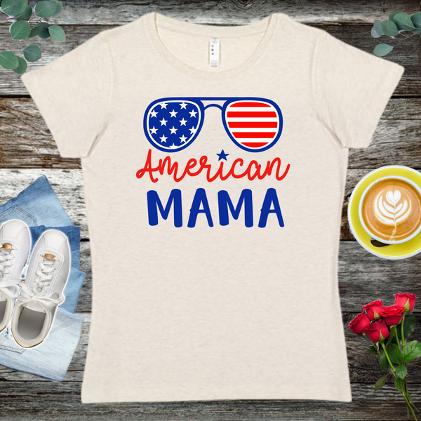 American Mama  Ladies' Fitted Crew neck, V-neck T-shirt