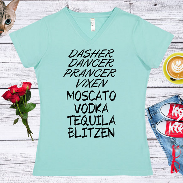 Dasher,Dancer, Prancer...Ladies' Fitted Crew neck, V-neck T-shirt