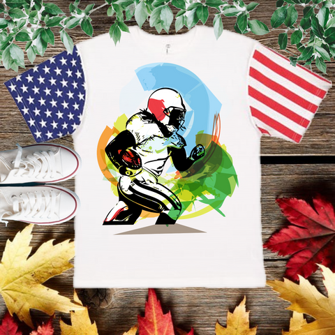 Football Player Color T-Shirt with American flag Sleeve (Adult Unisex Fit)