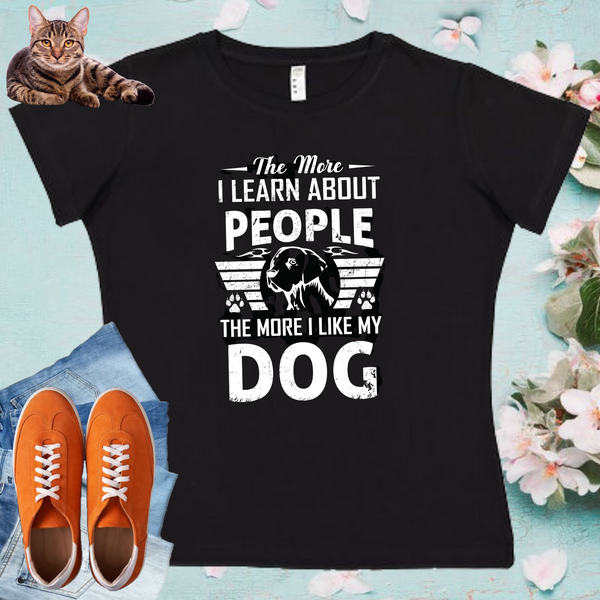 Dog And People  Ladies' Fitted Crew neck, V-neck T-shirt
