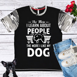 Dog And People  Men's And Unisex Fitted With Camo Sleeve T-shirt