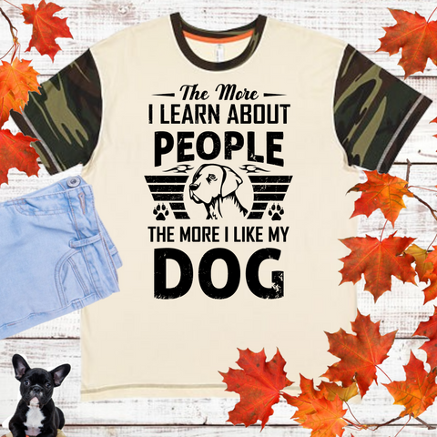 Dog and People T-Shirt with Camo Sleeve (Adult Unisex Fit)