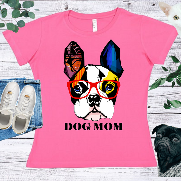Dog Mom  Ladies' Fitted Crew neck, V-neck T-shirt