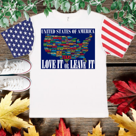Love It Or Leave It T-Shirt with American flag Sleeve (Adult Unisex Fit)