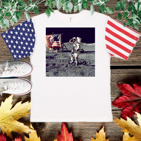 Men On The Moon T-Shirt with American flag Sleeve (Adult Unisex Fit)