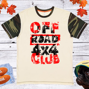 Off Road 4X4 Club  Men's And Unisex Fitted With Camo Sleeve T-shirt