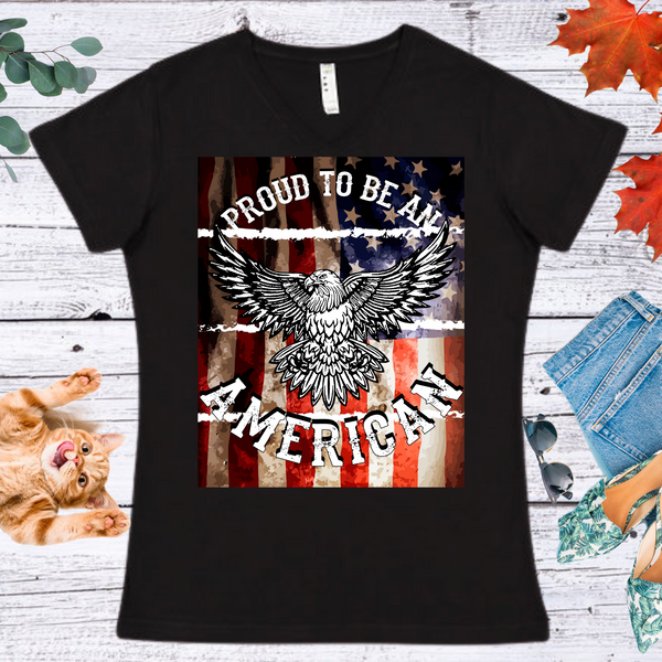 Proud To Be An American...  Ladies' Fitted Crew neck, V-neck T-shirt
