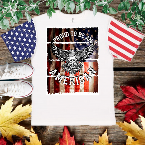 Proud American T-Shirt with American flag Sleeve (Adult Unisex Fit)