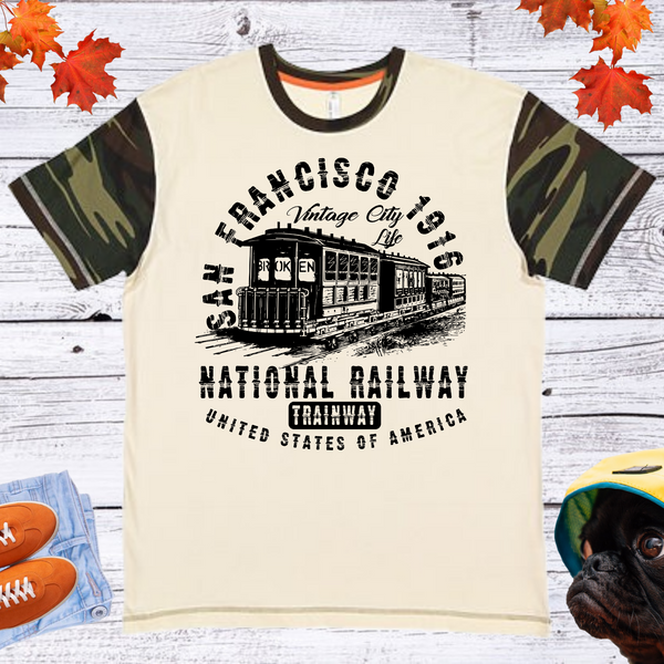 San Francisco National Railway  Men's And Unisex Fitted With Camo Sleeve T-shirt