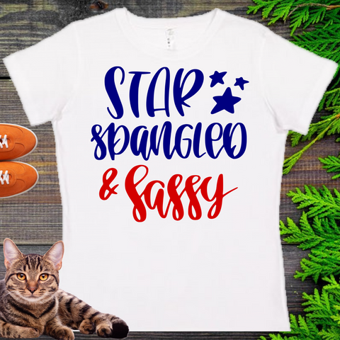 Star Spangled & Sassy  Ladies' Fitted Crew neck, V-neck T-shirt