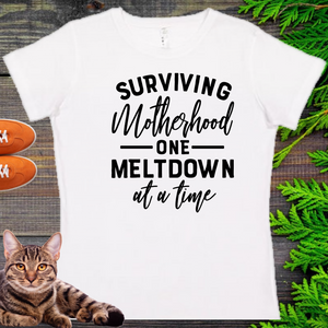 Surviving Motherhood...   Ladies' Fitted Crew neck, V-neck T-shirt