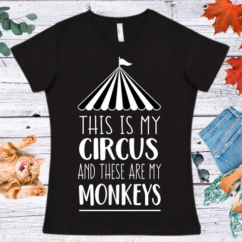 Thi Is My Circus...  Ladies' Fitted Crew neck, V-neck T-shirt