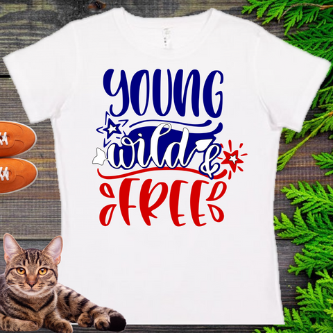 Young, Wilde, Free   Ladies' Fitted Crew neck, V-neck T-shirt