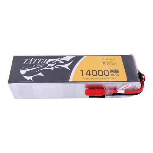 TATTU 14000MAH 22.2V 25C 6S1P LIPO BATTERY WITH AS150 + XT150 PLUG