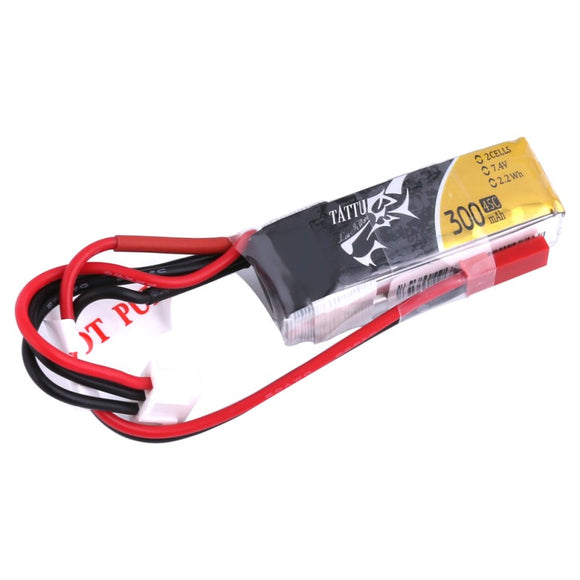 Tattu 300mAh 2S 45C Lipo Battery Pack with JST-SYP plug