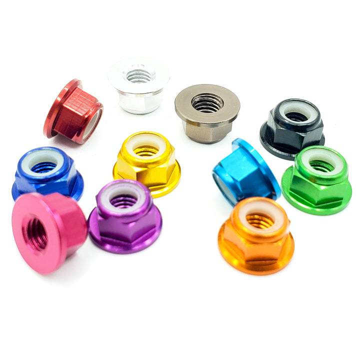 M5 ANODIZED FLANGED PROP LOCKNUT HARDWARE - (5 PCS.)