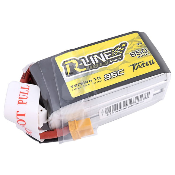 Tattu R-Line 850mAh 95C 4S1P Lipo Battery Pack with XT30 plug
