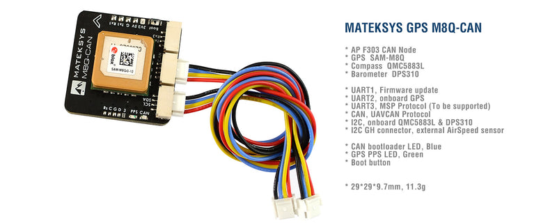 MATEK GPS M8Q-CAN UAVCAN INCLUDING COMPASS AND BARO