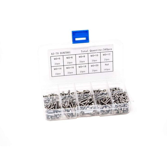 M3 STAINLESS STEEL BOLT 340 PIECE HARDWARE KIT